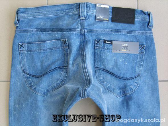 Spodnie Lee ZED Slim Zip niebieskie rurki W28 L32 pas 75