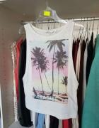 NEW LOOK wycięta bluzka koszulka z nadrukiem