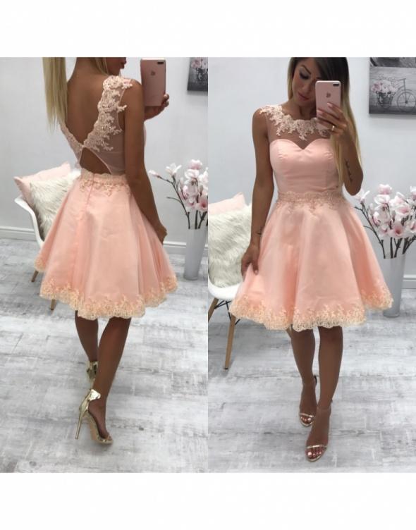 d2019ea6b0 Suknie i sukienki sukienka princeska tiul cyrkonie pudrowy róż wesel