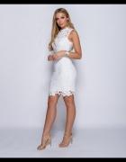 ażurkowa ołówkowa sukienka biała cudna M L
