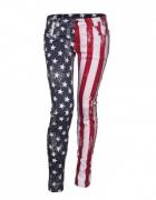 FISHBONE spodnie jeansy flaga USA new yorker amisu...