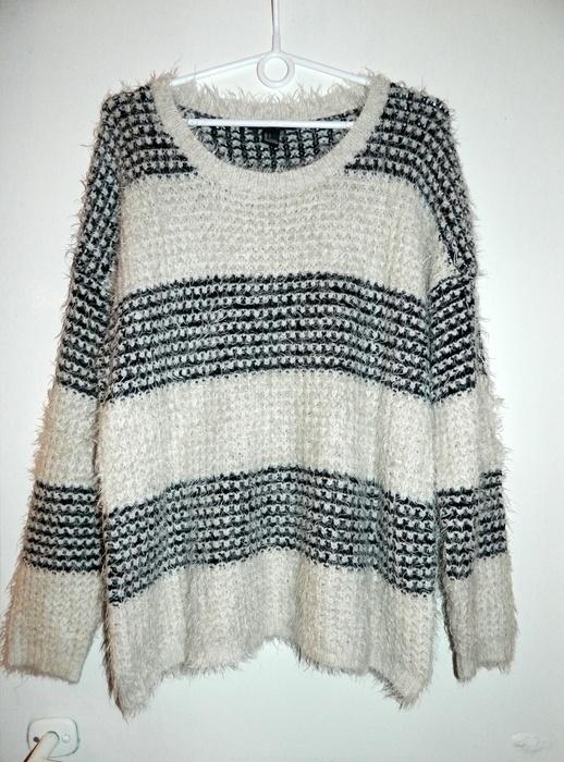 Swetry włochaty sweter w paski forever 21