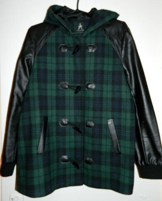 Odzież wierzchnia kurtka ze skórzanymi rękawami w kratkę Atmosphere