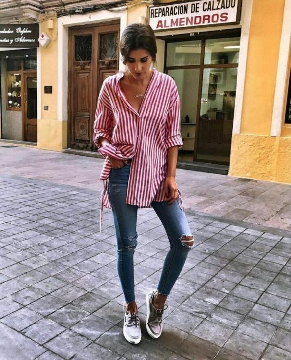 Blogerek Koszula z jeansami