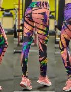 Kolorowe legginsy cienkie lato 2017 M