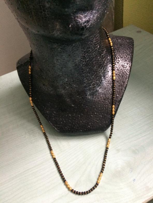 Ogromny Mangalsutra indyjski naszyjnik etno czarno złoty w Naszyjniki OH09