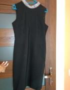 czarna sukienka z cyrkoniami na szyi 40 L