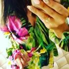Piękna koszula w kwiaty i szorty z eko skóry