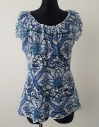 koronkowa niebiesko biała bluzka Per Una...