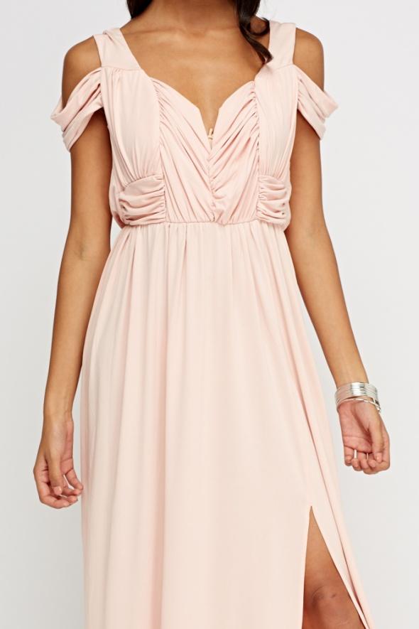 a2c7cb254a Suknie i sukienki maxi sukienka długa asos 36 s pudrowy róż rozcięci