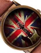 Brązowy Zegarek Damski Jeans Flaga...