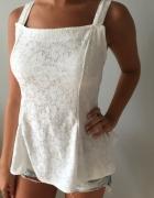 NOWA biała koronkowa bluzka z baskinką