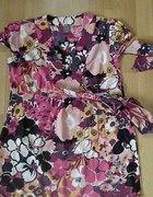 Bluzka tunika w kwiaty wiązana floral M L