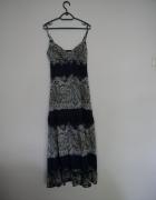 Długa niebieska sukienka w kwiaty S Olivier S 36...
