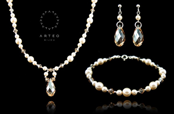 Komplet swarovski perły I kryształy...