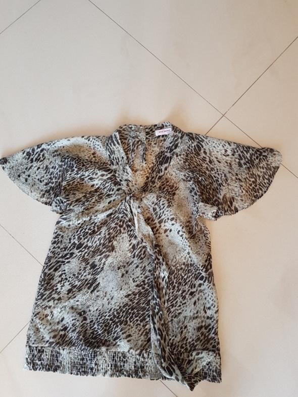 Bluzki Bluzeczka panterka z wiązaniem