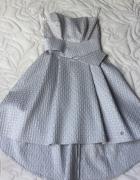Sukienka elegancka popiel żakard
