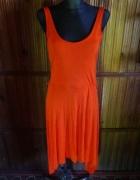 Pomarańczowa długa sukienka L XL
