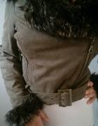 jesienna krotka kurtka z futerkiem