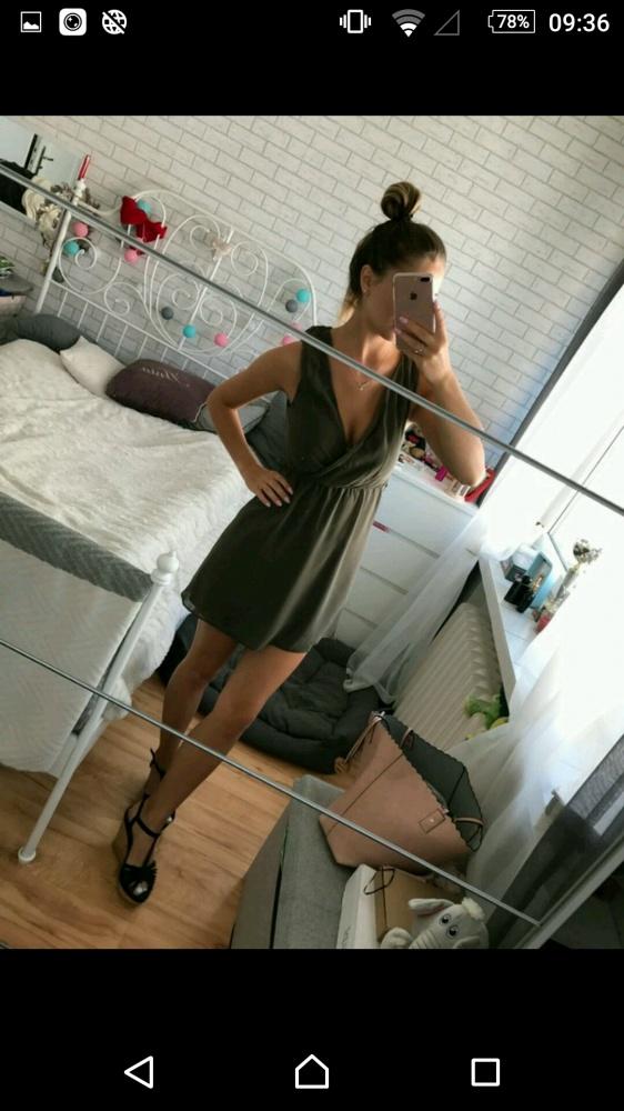 Ubrania Khaki sukienka kopertowa s m przekladana