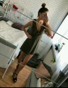 Khaki sukienka kopertowa s m przekladana...
