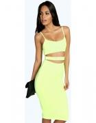 sukienka żółta neonowa 36 boohoo wycięcia