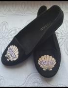 Czarne baleriny H&M muszelka lordsy...