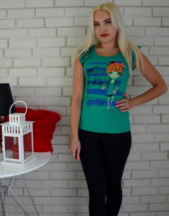 Bluzki Zielona bluzeczka na lato z ozdobami