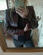 Brązowa skórzana kurtka rozmiar M