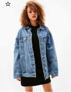 Luźna jeansowa kurtka M bershka oversize długa