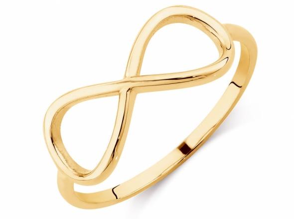 Złoty pierścionek gwiazd INFINITY nieskończoność