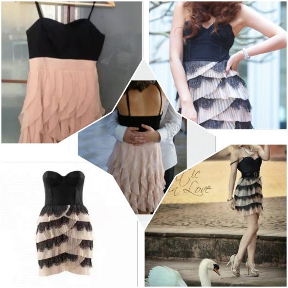 Sukienka by night czarna pudrowo różowa tylko xs