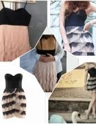 Sukienka by night czarna pudrowo różowa tylko xs...