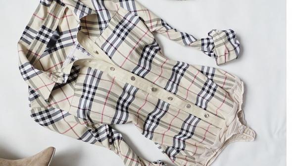 koszula body burberry krata brąz