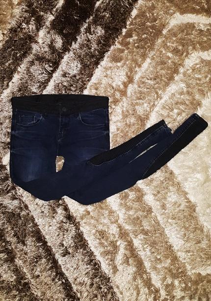 Cross jeans rurki 34 XS granatowe czarne wstawki z...