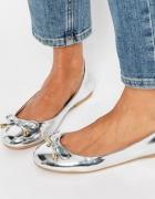 Metaliczne srebrne balerinki asos nowe roz 38