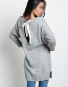 Sukienka sweter tunika kokarda wełna