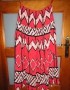 śliczna spódnica aztec wzory koralowa