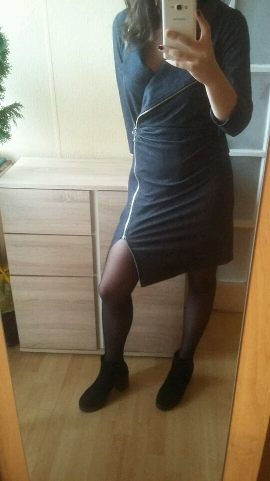 sukienka jeansowa ramoneska suwak