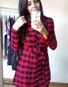 Sukienka w kratkę ROCK wiązana w pasie koszula...
