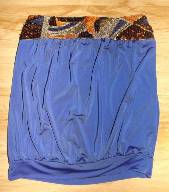 Bluzki kobaltowa imprezowa bluzeczka bez ramiączek S