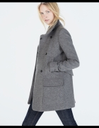 Szary zimowy płaszcz wełna ZARA 42 XL kurtka mysi
