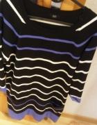 czarny sweter w paski rozmiar L F&F