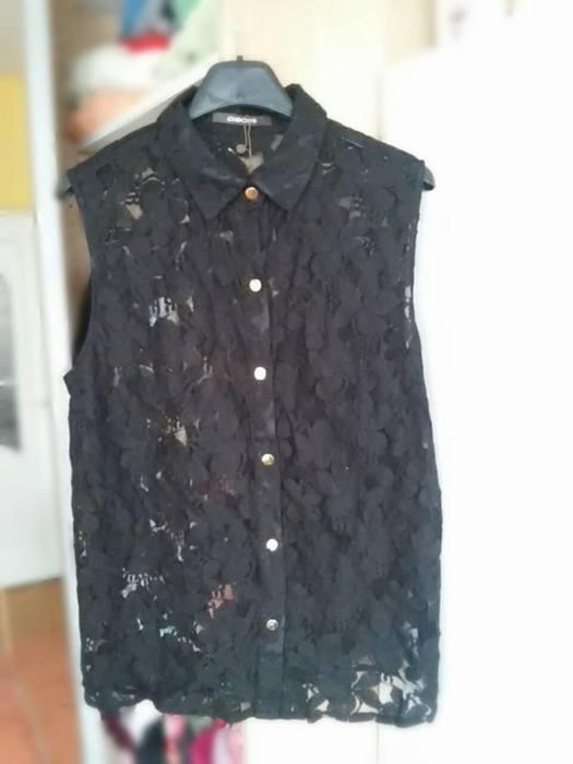 nowa czarna koronkowa mgiełka Pieces koszula bluzk...