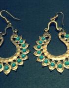 Kolczyki stare złoto turkusowe oczka