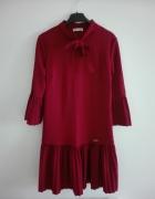 bordowa burgundowa sukienka falbanki jesień