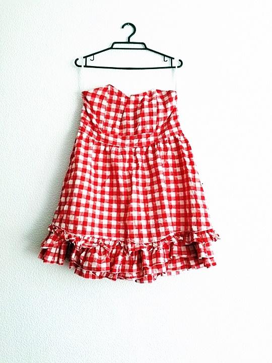 vintage retro sukienka falbanki krata kratka pin