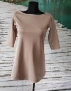 Sukienka Beżowa S M Trapezowa Kremowa Rękaw 34