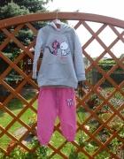 Nowy dres dziewczęcy szaro różowy 98