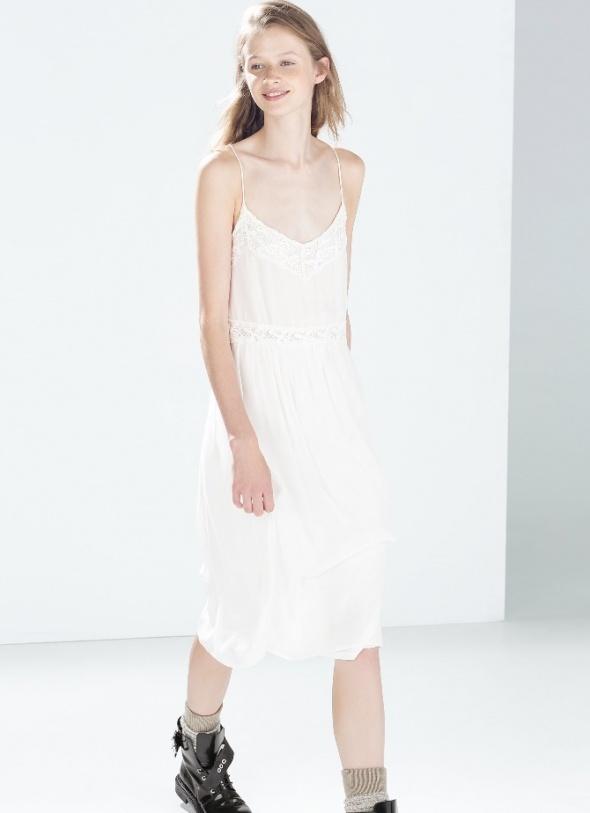 Biała sukienka zara odkryte plecy 36